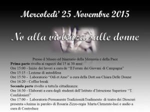 25 novembre 2015 – No alla violenza sulle donne!