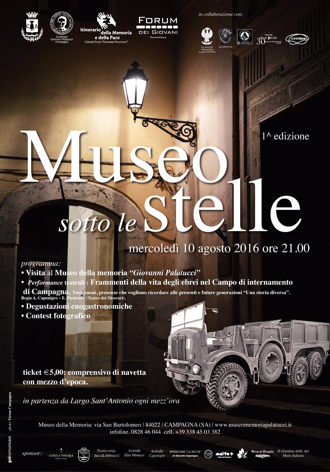 Museo sotto le stelle – I edizione – agosto 2016