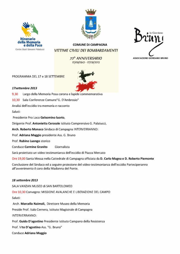 """Presentazione 70° Anniversario del bombardamento in Largo della Memoria – 17 settembre 2013 del libro di Lunghezzani """"La lunga strada sconosciuta"""" 13 ottobre 2013"""